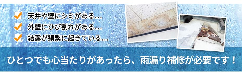 ひとつでも心当たりがあったら、雨漏り補修が必要です!