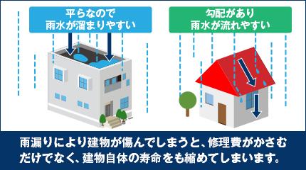 屋根が平らな建物やバルコニーなどは、雨水が溜まりやすい